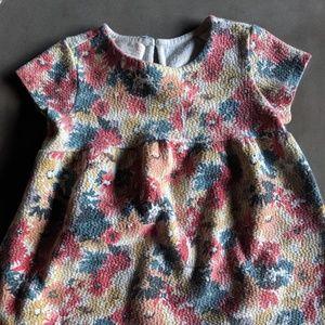 Zara Jacquard Floral Short Sleeve Dress